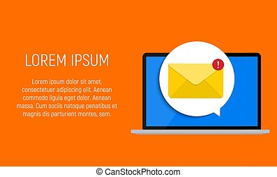 New Email on the laptop screen notification concept. Vector illustration