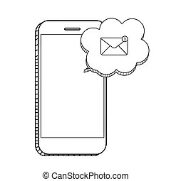 New Email on the smartphone screen notification concept. Vector illustration