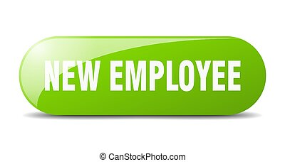 new employee button. sticker. banner. rounded glass sign