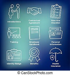 New Employee Hiring Process icon set w checklist, handshake,...