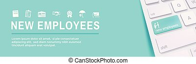 New Employee Hiring Process icon set with handbook,...
