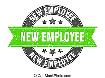 new employee round stamp with ribbon. label sign