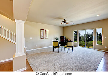 New empty room with beige carpet.
