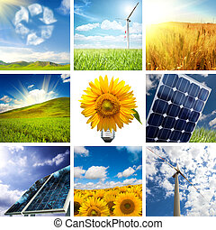 New energy collage - New energy concept with collage of...