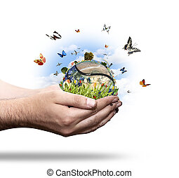 New energy concept - New energy world concept with butterfly...