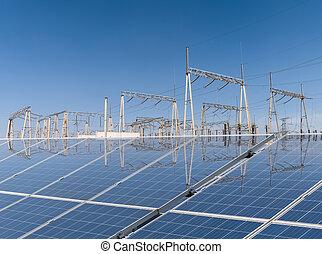 new energy supply - solar energy with transformer...