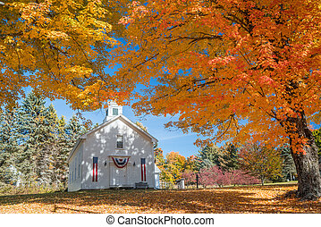 New Engand Church in Autumn