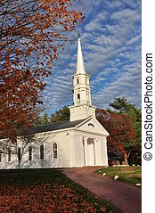 New England Chaplel in Autumn - a traditional New England...