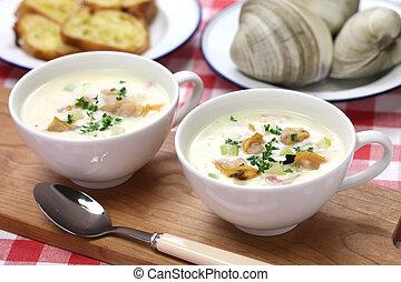 new england clam chowder, american cuisine