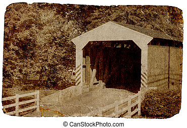 New England / Dutch Enclosed Bridge With Aged Photo Effect.