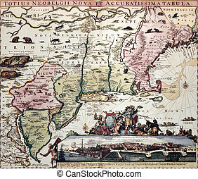 New England old map with New Amsterdam insert view. Created ...