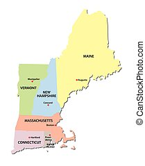 new england states map - new england states vector map