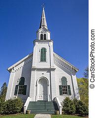 New England white wooden church