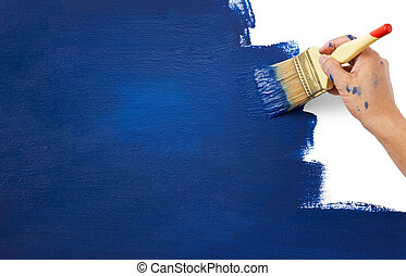 painting blue color on white representing new era
