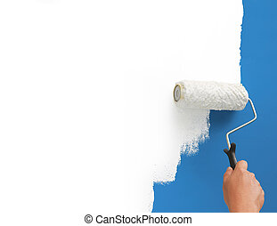 painting white color on blue representing new era