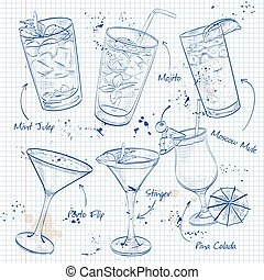 New Era Coctail Set on a notebook page - New Era Cocktail...