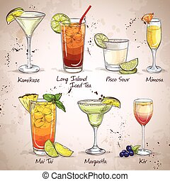 New Era Drinks Cocktail Set, excellent vector illustration,...