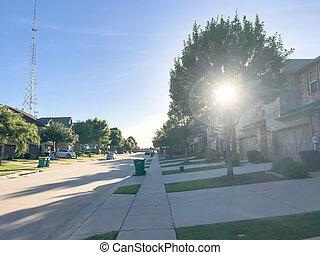 New established neighborhood houess in suburban Dallas, Texas