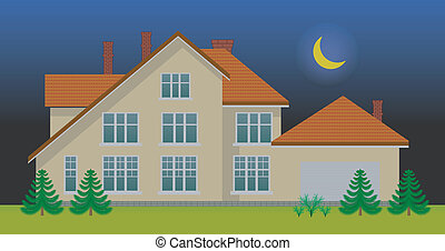 New family house in the night