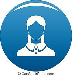 New female avatar icon blue vector
