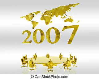 New fiscal year 2007. - New years 2007 with a world map in...