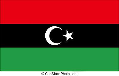 LIBYA, AUGUST 2011 - new flag of Libya after Qaddafi, in Libya, August 2011