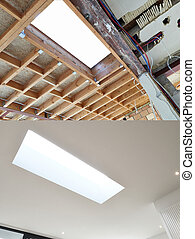New frame for ceiling roof in construction Ready for...