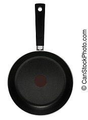 New frying pan on a white background