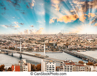 New Galata and Golden Horn Bridge, aerial view of Istanbul