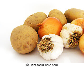 New garlic onions and potato stock pictures