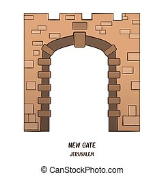 New Gate in Jerusalem. Vector - New Gate in Old City of...