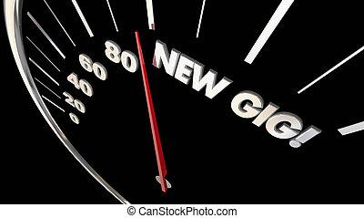 New Gig Job Task Work Speedometer Level 3d Illustration