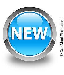 New glossy cyan blue round button
