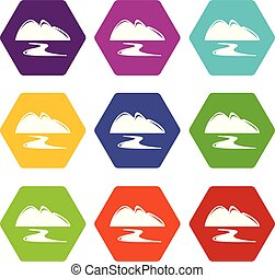 New gold mine icons set 9 vector - New gold mine icons 9 set...