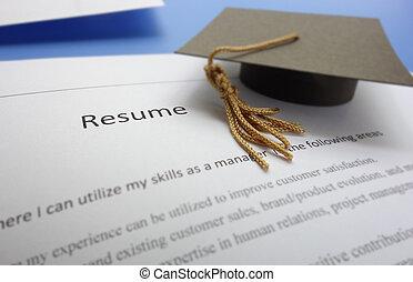 new grad - Job applicant resume and graduation cap...