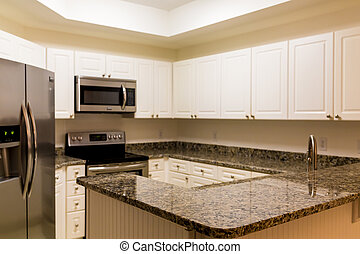 New Granite Counter and  Stainless Appliances in White Kitchen