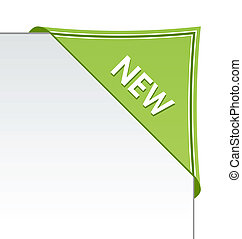 New green corner business ribbon on white background.