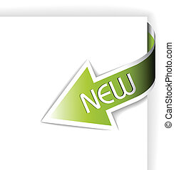New green corner ribbon - arrow pointing at the content (...