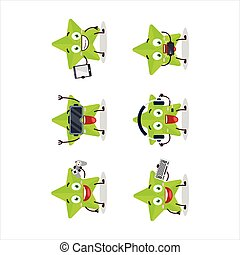 New green stars cartoon character are playing games with various cute emoticons.Vector illustration