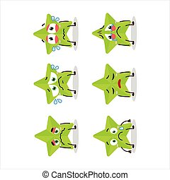 New green stars cartoon character with sad expression.Vector illustration