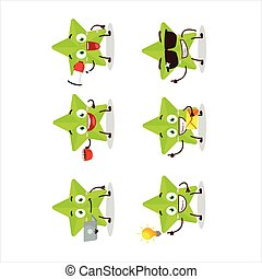 New green stars cartoon character with various types of business emoticons.Vector illustration