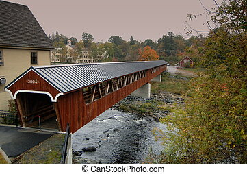 New Hampshire covered bridge - Autumn colors of a covered...