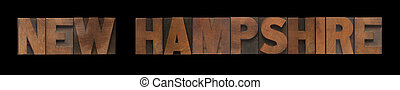 New Hampshire in old wood type