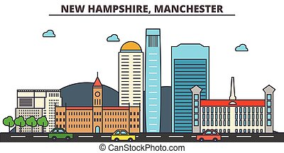 New Hampshire, Manchester.City skyline: architecture, buildings, streets, silhouette, landscape, panorama, landmarks, icons. Editable strokes. Flat design line vector illustration concept.