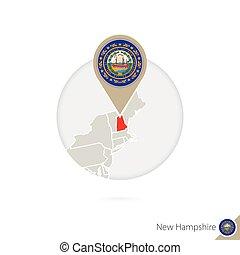 new hampshire, nosotros, mapa del estado, y, bandera, en, circle., mapa, de, new hampshire, bandera de new hampshire, pin., mapa, de, new hampshire, en, el, estilo, de, el, globe.