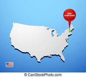 New Hampshire on USA map