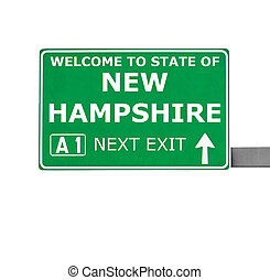 NEW HAMPSHIRE road sign isolated on white