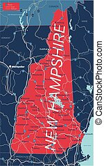 New Hampshire state detailed editable map