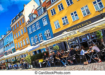 COPENHAGEN, DENMARK - AUGUST 3: New harbour - Nyhavn in centre of the city on August 3, 2012 in Copenhagen