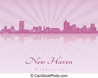 New Haven CT skyline in purple radiant orchid